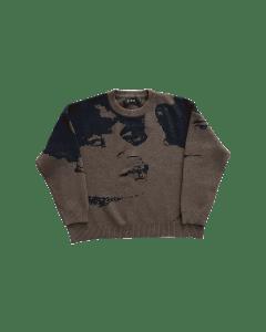 Faces knit dark brown